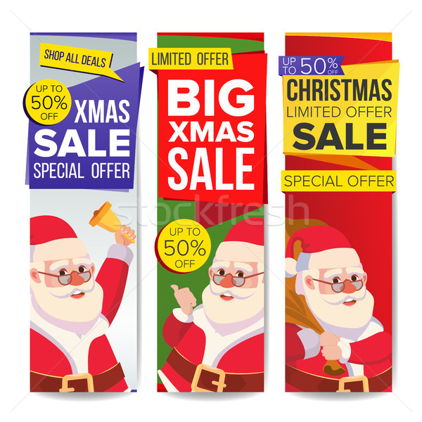 Christmas Sale Banner Vector. Merry Christmas Santa Claus. December Sale Banner. Website Stickers, H Stock photo © pikepicture