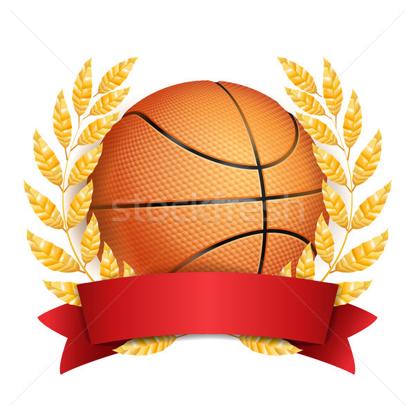 Basketball Award Vector. Sport Banner Background. Orange Ball, Red Ribbon, Laurel Wreath. 3D Realist Stock photo © pikepicture