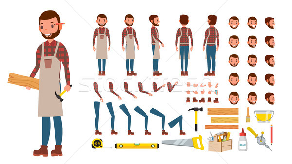 Carpenter Vector. Animated Professional Character Creation Set. Workshop, Wood Work Tool. Full Lengt Stock photo © pikepicture
