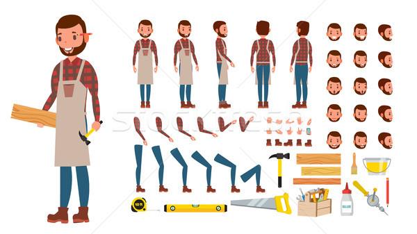 плотник вектора профессиональных характер создание набор Сток-фото © pikepicture