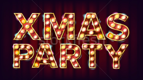 Christmas Retro Party Sign Vector. Realistic Retro Shine Lamp Bulb. Poster, Flyer, Banner, Brochure  Stock photo © pikepicture