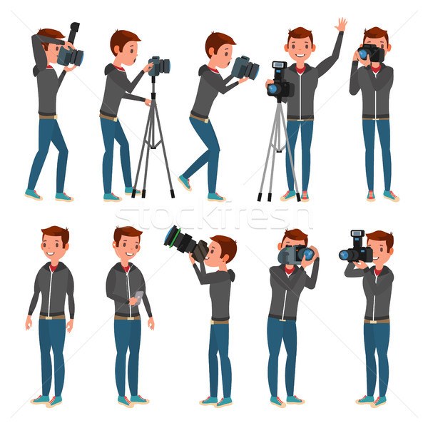 Photographer Vector. Modern Camera. Posing. Full Length Taking Photos. Photojournalist Design. Flat  Stock photo © pikepicture