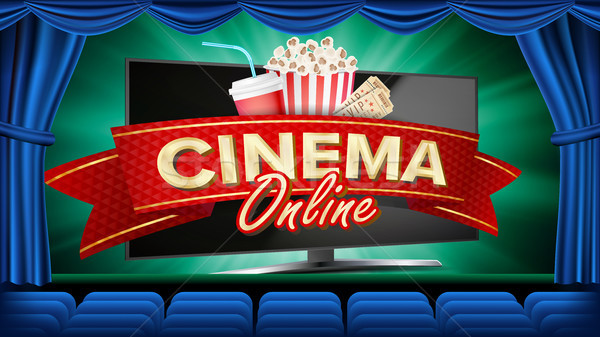 Online Cinema Banner Vector. Realistic Computer Monitor. Movie Brochure Design. Template Banner For  Stock photo © pikepicture