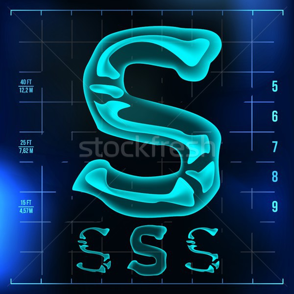 S Letter Vector. Capital Digit. Roentgen X-ray Font Light Sign. Medical Radiology Neon Scan Effect.  Stock photo © pikepicture