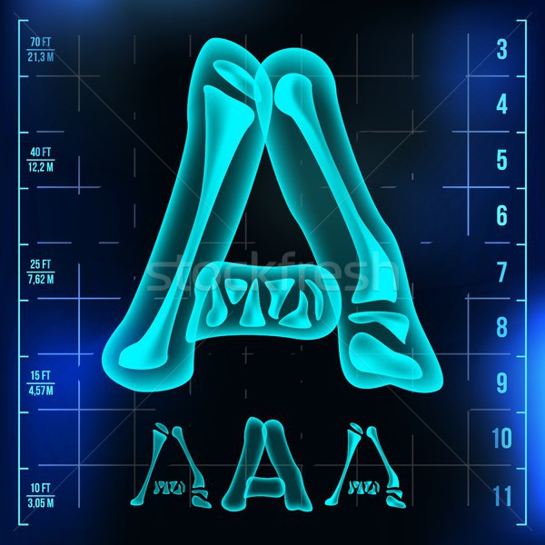 A Letter Vector. Capital Digit. Roentgen X-ray Font Light Sign. Medical Radiology Neon Scan Effect.  Stock photo © pikepicture