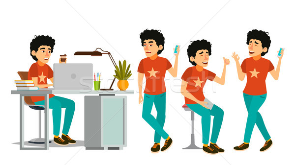 Junior Developer Character Vector. Young Coder In Modern Office Workplace. Developer. Programmer. So Stock photo © pikepicture