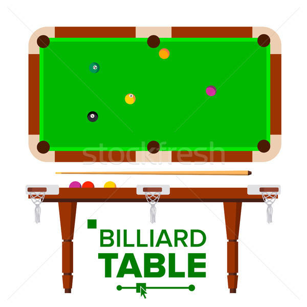 Billiard Table Vector. Top, Side View. Green Classic Pool, snooker Table. Isolated Flat Illustration Stock photo © pikepicture