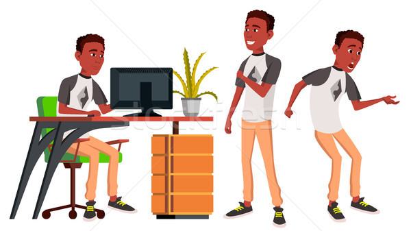 Office Worker Vector. Emotions. Lifestyle. Black. African. Business Person. Poses. Front, Side View. Stock photo © pikepicture