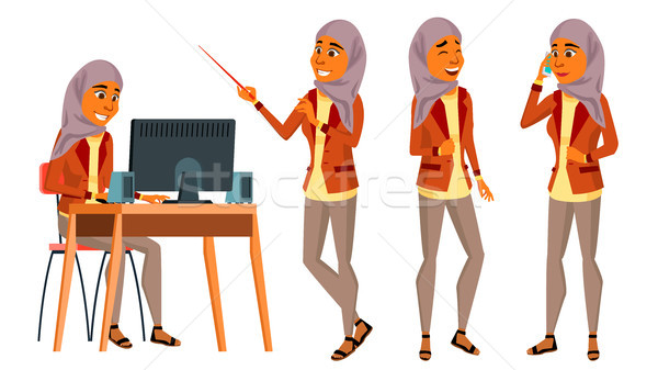 Arab Woman Office Worker Vector. Woman. Set. Hijab. Islamic. Business Human. Office Generator. Lady  Stock photo © pikepicture
