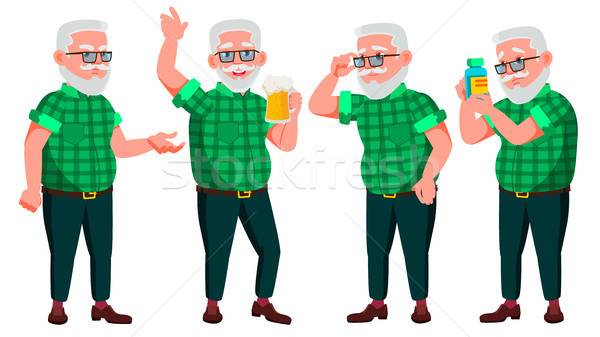 Old Man Poses Set Vector. Elderly People. Senior Person. Aged. Cheerful Grandparent. Presentation, I Stock photo © pikepicture