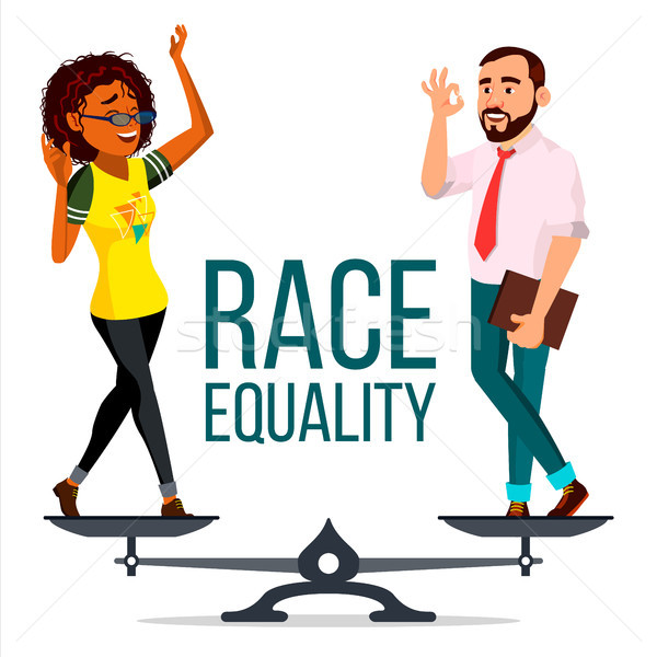 Race Equality Vector. On Scales. People Different Race And Skin Color Equal Rights. Isolated Flat Ca Stock photo © pikepicture