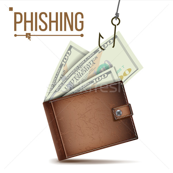 Phishing Money Concept Vector. Internet Security. Cyber Crime. Cartoon Illustration Stock photo © pikepicture