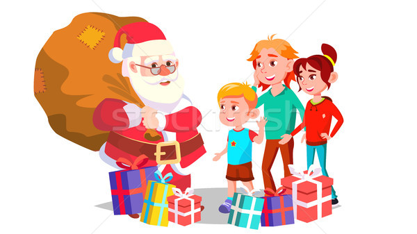 Santa Claus With Children Vector. Cheerful Kids. Winter Holidays. Happy. New Year Gifts. Banner, Fly Stock photo © pikepicture