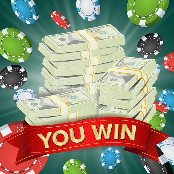 You Win. Winner Background Vector. Gambling Poker Chips Lucky Jackpot Illustration. Big Win Banner.  Stock photo © pikepicture