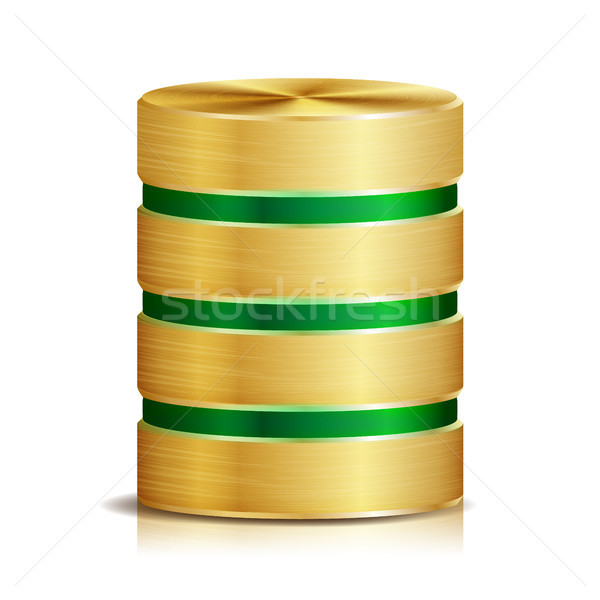 Red base de datos disco icono vector realista Foto stock © pikepicture