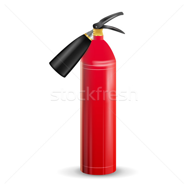 Red Fire Extinguisher Vector. Metal Red Fire Extinguisher Isolated Illustration Stock photo © pikepicture