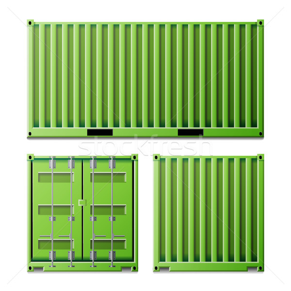 Green Cargo Container Vector. Freight Shipping Container Concept. Logistics, Transportation Mock Up. Stock photo © pikepicture