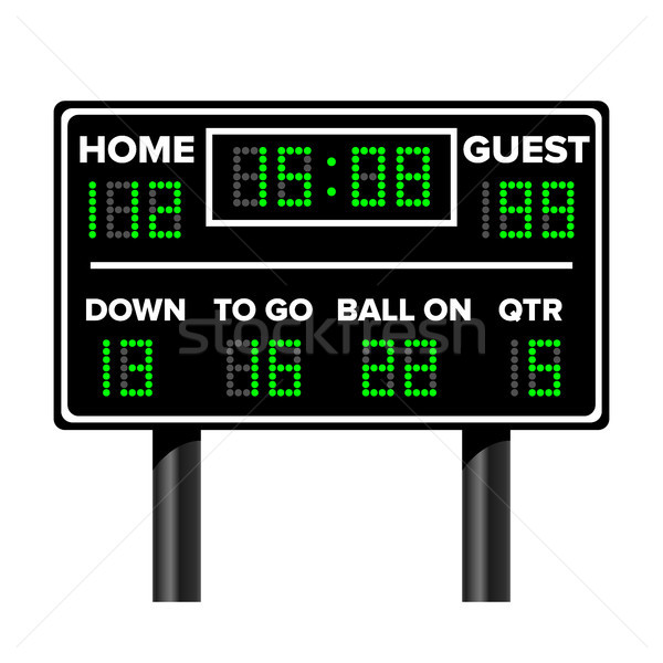 American Football Scoreboard. Sport Game Score. Digital LED Dots. Vector Illustration. Time, Guest,  Stock photo © pikepicture