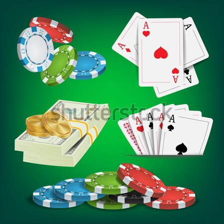 Poker Design Elements Vector. Chips, Money Stacks, Playing Gambling Cards. Royal Fortune Club Concep Stock photo © pikepicture