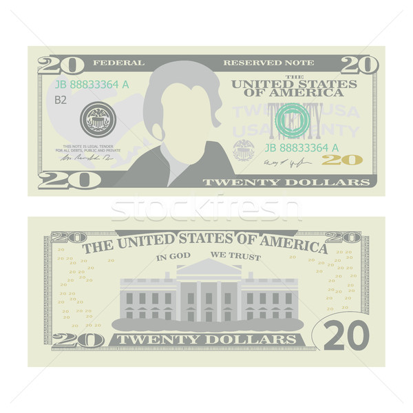 20 Dollars Banknote Vector. Cartoon Stock photo © pikepicture