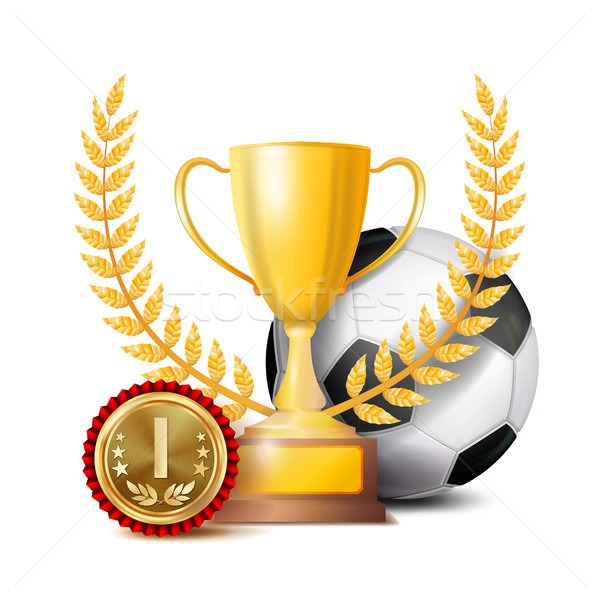 Football Achievement Award Vector. Sport Banner Background. Ball, Winner Cup, Golden 1st Place Medal Stock photo © pikepicture