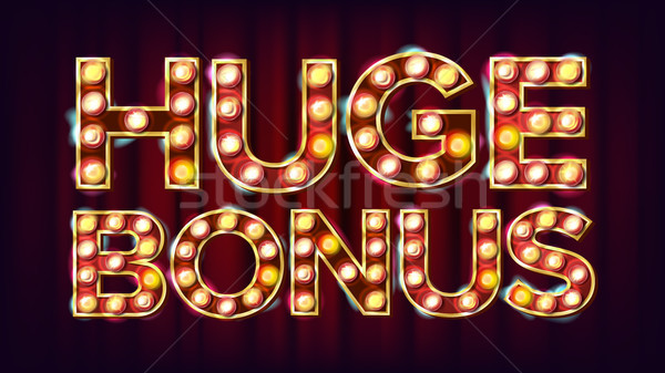 Huge Bonus Banner Vector. Casino Glowing Lamps. For Slot Machines Signboard Design. Business Illustr Stock photo © pikepicture