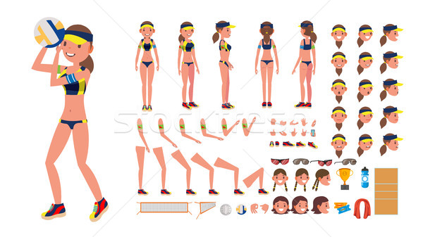 Volleyball Player Vector. Beach Volleyball Female Sport. Animated Character Creation Set. Full Lengt Stock photo © pikepicture