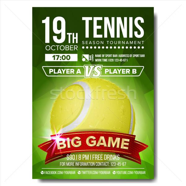 Tenis plakat wektora piłka tenisowa pionowy projektu Zdjęcia stock © pikepicture