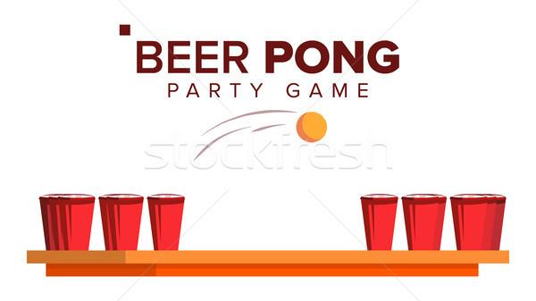 Bira oyun vektör alkol parti kırmızı Stok fotoğraf © pikepicture