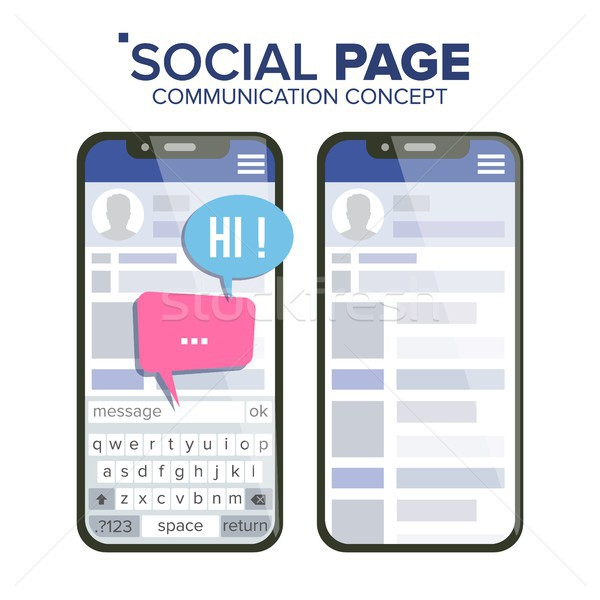 Social Page On Smartphone Vector. Speech Bubbles. Social Media App Interface. Isolated Flat Illustra Stock photo © pikepicture