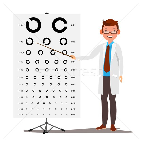 Male Ophthalmology Vector. Sight, Eyesight. Optical Examination. Doctor And Eye Test Chart In Clinic Stock photo © pikepicture
