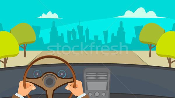 Hands Driving Car Vector. City Traffic Jam. Urban Background. Flat Illustration Stock photo © pikepicture