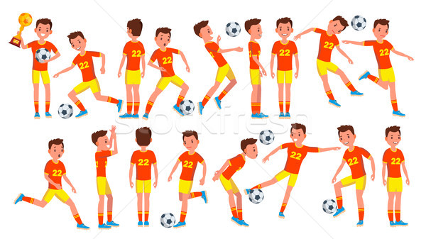 Soccer Man Player Male Vector. Field. Training. Goalkeeper. Cartoon Athlete Character Illustration Stock photo © pikepicture