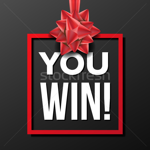 You Win Banner Vector. Festive Sign. Lottery Concept. Realistic Red Satin Bow. Congratulations Card. Stock photo © pikepicture