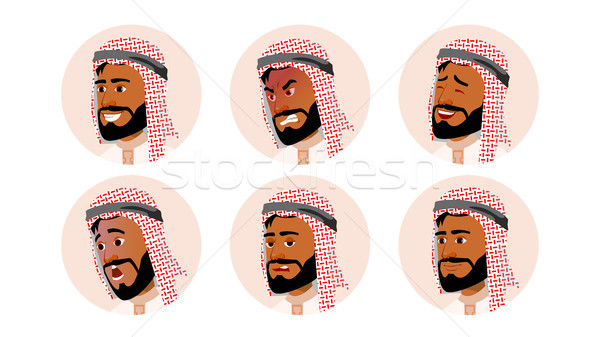 Arab Avatar Icon Man Vector. Saudi, Emirates, Qatar, Uae. Human Emotions. Anonymous Male. Various Ex Stock photo © pikepicture
