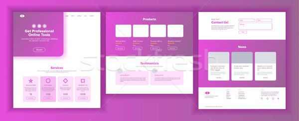 Stock fotó: Fő- · háló · oldal · terv · vektor · weboldal