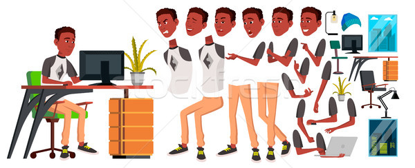 Office Worker Vector. Animation Creation Set. Black. African. Emotions, Gestures. Animated Elements. Stock photo © pikepicture