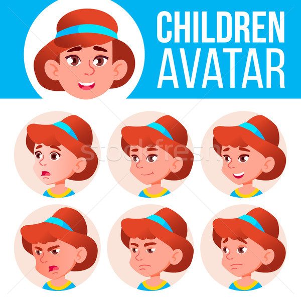 Girl Avatar Set Kid Vector. Kindergarten. Face Emotions. Emotional, Facial, People. Fun, Cheerful. A Stock photo © pikepicture