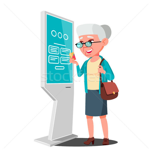 Old Woman Using ATM, Digital Terminal Vector. Advertising Touch Screen. Floor Standing. Money Deposi Stock photo © pikepicture