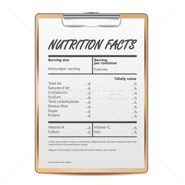 Nutrition Facts Vector. Blank, Template. Food Content. Fat Information. Protein Sport. Grams And Per Stock photo © pikepicture