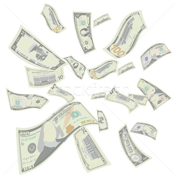 Flying US Dollars Vector. Falling US Cartoon Bills Stock photo © pikepicture