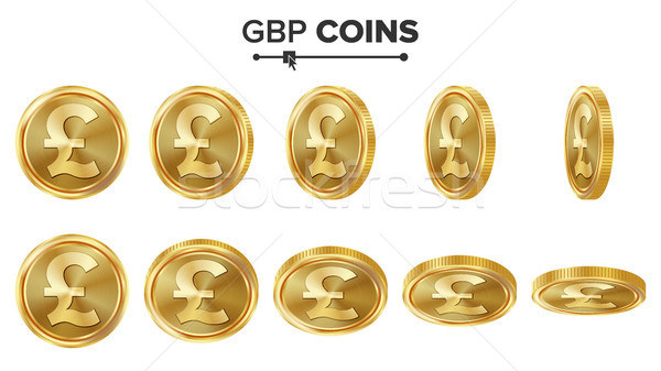 GBP 3D Gold Coins Vector Set. Realistic Illustration. Flip Different Angles. Money Front Side. Inves Stock photo © pikepicture