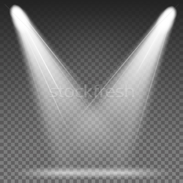 White Beam Lights Spotlights Vector. Different Shapes And Projections Gleaming In Darkness Stock photo © pikepicture