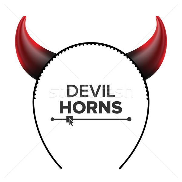 Devil Horns Vector. Head Gear. Red Luminous Horn. Demon Or Satan Horns Symbol, Sign, Icon. Isolated  Stock photo © pikepicture