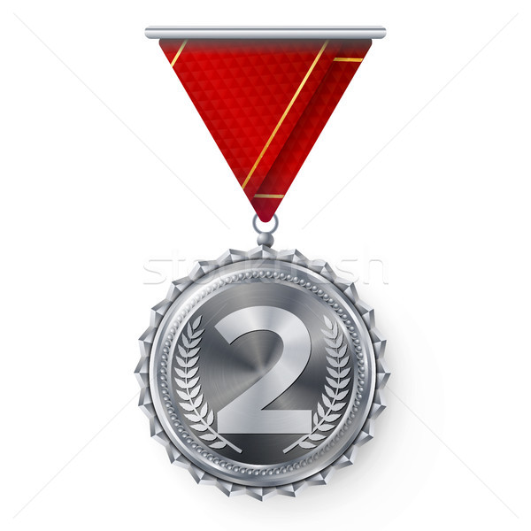 Silver Medal Vector. Round Championship Label. Competition Challenge Award. Red Ribbon. Isolated On  Stock photo © pikepicture
