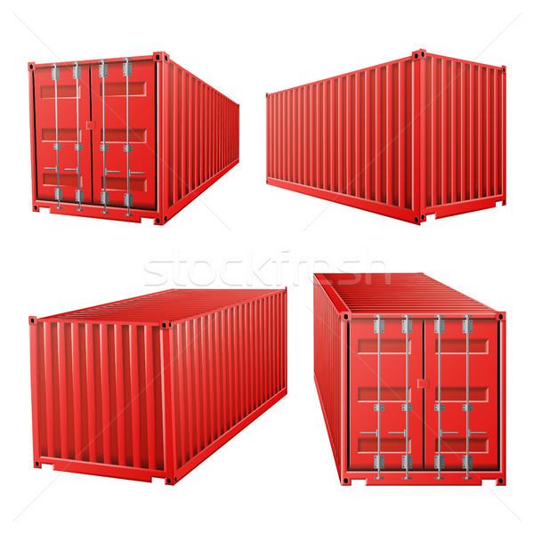 Foto d'archivio: 3D · rosso · carico · contenitore · vettore · classico