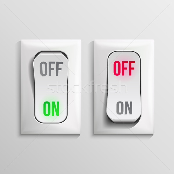 3D Toggle Switch Vector. White Switches With On, Off Position. Electric Light Control Illustration. Stock photo © pikepicture