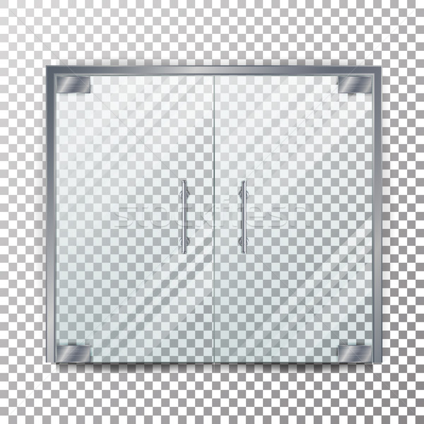Glass Door Transparent Vector. Clear Glass Door Isolated On Transparent Checkered Background. Mock U Stock photo © pikepicture