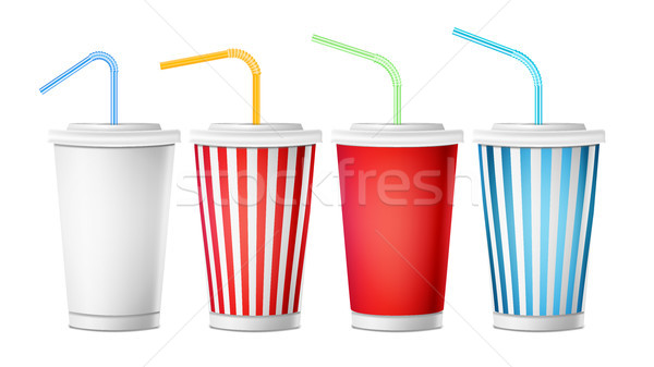 Soda Cup Template Vector. 3d Realistic Paper Disposable Cups Set For Beverages With Drinking Straw.  Stock photo © pikepicture