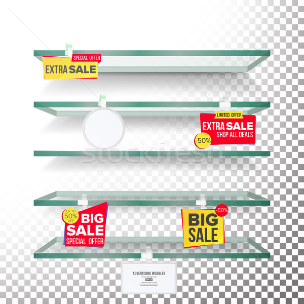 Empty Supermarket Shelves, Wobblers Vector. Price Tag Labels. Selling Card. Discount Sticker. Sale B Stock photo © pikepicture